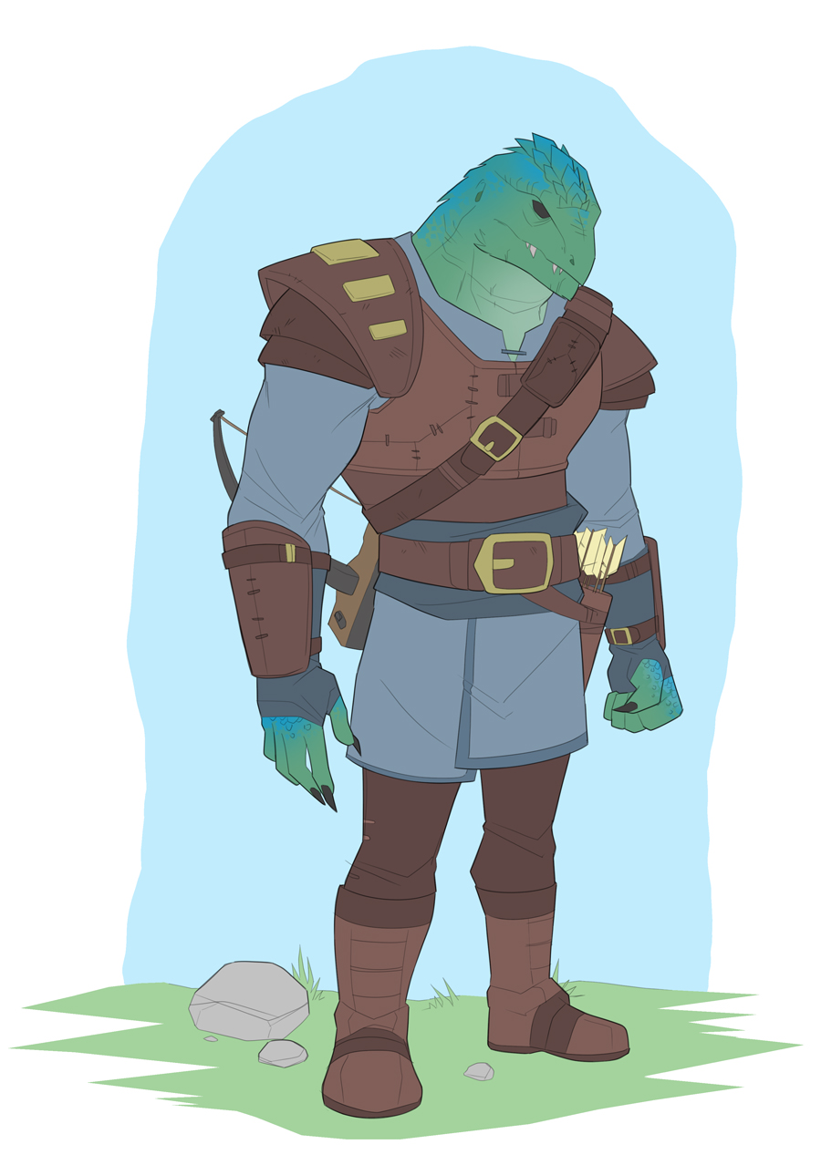 Garrett is a Karikis, a reptilian humanoid race with blue-green scales and spiny ridges on their heads. He stands with a crossbow strapped to his back and carries a quiver of arrows.