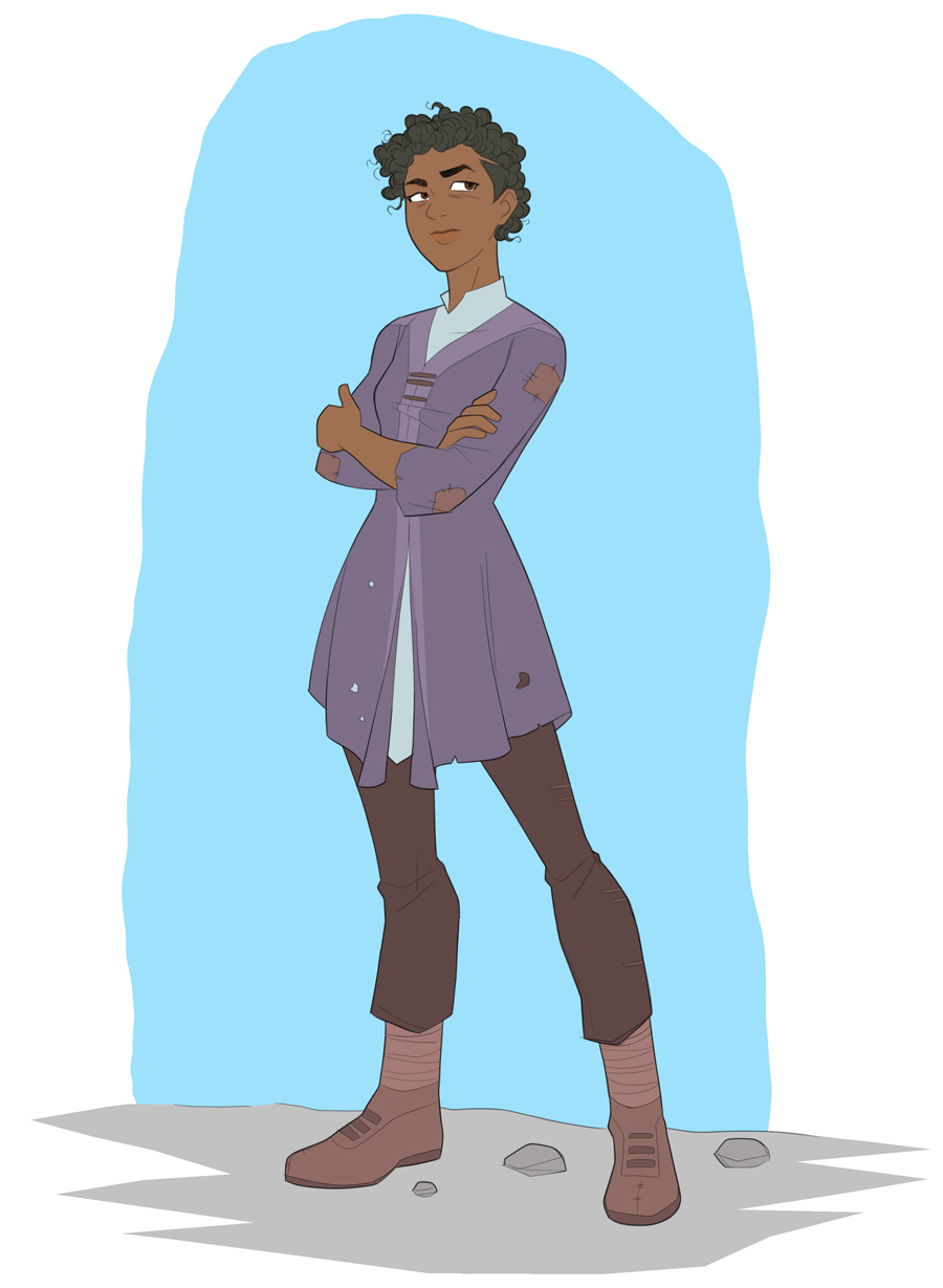 Maddy, a fiercely independent young black woman, stands wearing a tunic trimmed in purple.